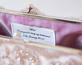 Custom Inscription Label, Personalized Bridesmaids Brides Clutches