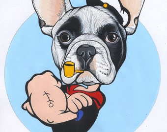 Original French Bulldog drawing / Popeye-style / framed