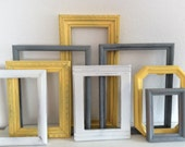 French Country Picture Frames - Painted Yellow Grey White  Distressed -Modern Cottage  - Set Of 8 - Farmhouse Decor - Wall Gallery - Wedding