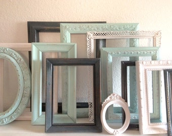 10 Shabby Cottage Chic  Picture Frames - Gallery Wall - Painted Aqua Mint Grey White  - Wedding  - Ornate - Distressed - Nursery -