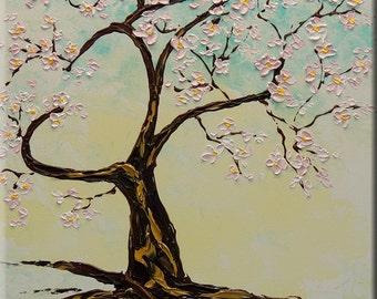 "ORIGINAL ""Sakura"" tree flowers cherry 20x16 Wedding gift idea Heart Fine Art Impasto texture  Palette knife oil Flowers Painting by IraSher"