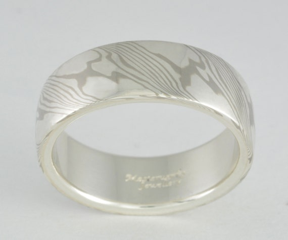Mokume Gane Ring - White Gold and Sterling Silver, Wide