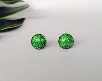 Leaf Green Dichroic glass stud earrings, on sterling silver - Fused dichroic glass