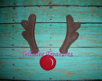 Reindeer Nose and Antlers Oversized Feltie  - Christmas Felt - Great for Hair Bows or Crafts
