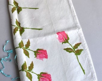 Vintage Vera Neumann Tea Towel - Rose Stems - Ladybug Logo