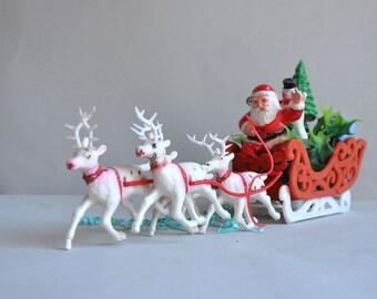 SALE 30% OFF! Flocked Santa & Reindeer Centerpiece - Melrose Flower Company