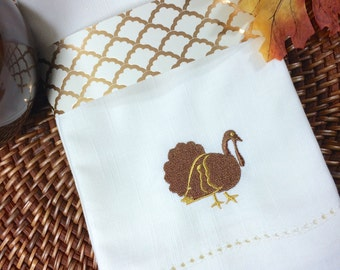 Thanksgiving Turkey Cloth Napkins, set of 4, turkey napkins, thanksgiving napkins, thanksgiving cloth napkins, embroidered napkins