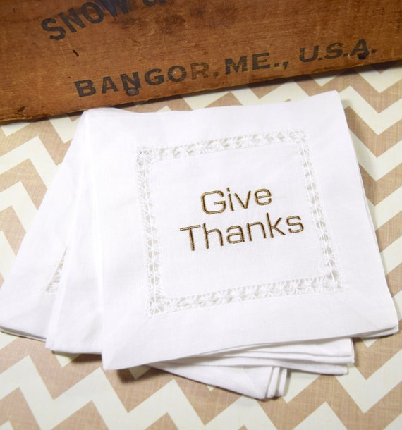 Give thanks cloth cocktail napkins thanksgiving cocktail for Halloween cloth napkins