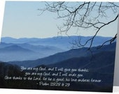 "5.5"" x 4"" Any Occasion Card (blank inside) - Smoky Mountains with Verse"