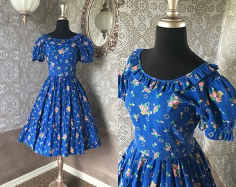 Vintage 1970's Blue Floral Print Tiered Square Dancing Dress Medium