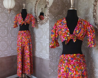 Vintage 1970's Psychedelic Two Piece Crop Top and Palazzo Pants Set Small