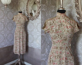 Vintage 1940's 50's Asian Print Fitted Dress with High Collar Small