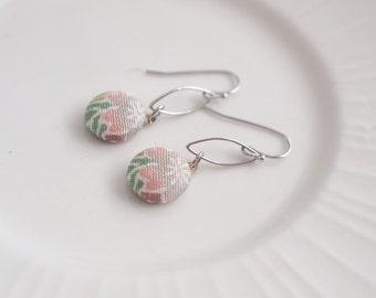 Kimono silk mini dangle earrings-flower pink