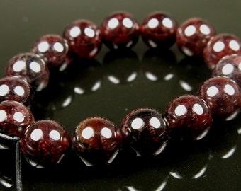Dark Wine Red Garnet Round Bead  - 8mm - 15 beads - B5648