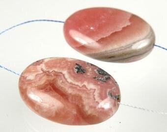Argentina Rhodochrosite Small Oval Bead - 20mm x 15mm x 6mm - 2 beads - B3856