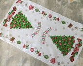 Vintage Holiday Linen Towel Kitchen Towel Kitchen Tea Towel Holiday Towel Christmas Linens Christmas Kitchen Towel Greetings Christmas Tree