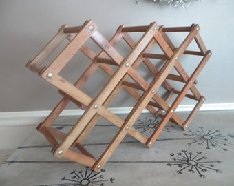 Wine Rack Vintage Rack Bottle Rack Wooden Wine Rack Collapsible Wine Rack Vintage Barware Retro Bar Rustic Decor