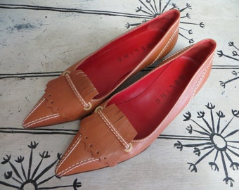 Designer Celine Fine Italian Leather Womens Shoes Pointed Shoes Pointed Flats Designer Flats Tan Shoes Tan Leather 37 1/2 B Italian Leather
