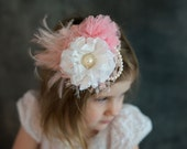 Pink and White Fairy Fascinator- Pink Feather Clip- Pink Fairy Costume- Pink Wedding Accessories- Bridal Fascinator- Photography Props