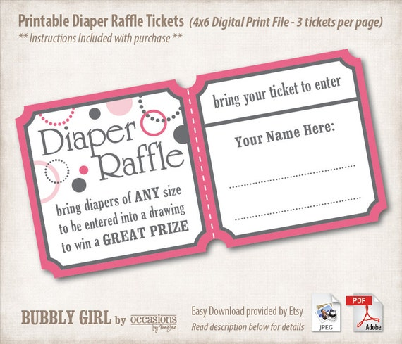 INSTANT DOWNLOAD, Printable Baby Shower Diaper Raffle Tickets, 4x6, Digital File, Bubbly Girl, Baby Girl