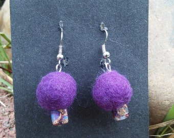 Purple Felted Earrings