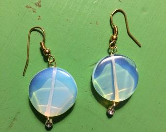 Opalite Stone Earrings with Rhinestone accents