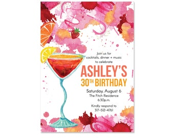 Cocktail Party Birthday Invitations, Cocktail Invites, Floral, Colorful, Summer, Printed with Envelopes