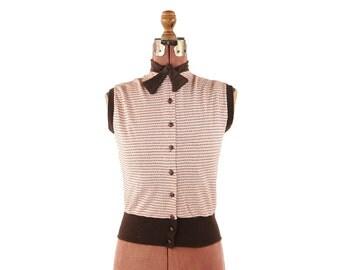 Vintage 1950's Brown + Pink Knit Stripe Bow Tie Sleeveless High Waist Sportswear Blouse Top Shirt S M