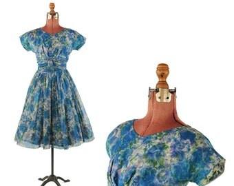Vintage 1960's Sheer Nylon Chiffon Blue Watercolor Abstract Floral PrintFull Skirt Garden Party Dress S
