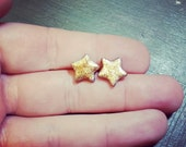 Glittery Gold Star Earrings - Polymer Clay Stud Earrings - Gold Star Post Earrings - Hypoallergenic - Great for Sensitive Ears