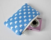Woman's gadget padded travel camera iphone pouch mini make up bag pussycat cat animal print in sky blue and white.