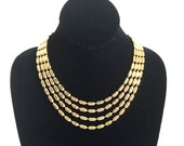 Classy Gold Toned Necklace Four Strands Oval Shaped Beads Statement