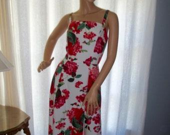 Vintage Mica Floral Sundress Pink Red Green White Tea Length