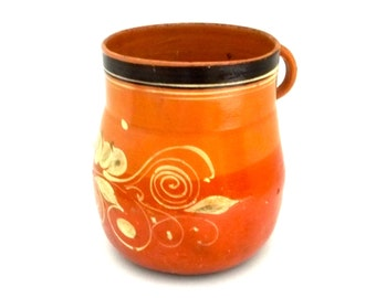 Hand Made Mexico Pottery, Hand Painted Pot, Clay Vessel, Mexican Art