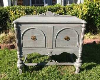 SOLD ** Chic and Shabby Grey Buffet / Accent Piece / Hall Table / Console