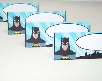 12 Batman Food Tent Cards/Name Place Cards/Happy Birthday/Party Supplies