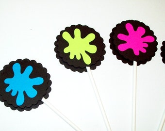 Paintball Splatter Cupcake Toppers/Paintball Party/Happy Birthday
