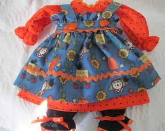 """Handmade Fall Raggedy Ann Dress for a 18-20"""" Doll"""