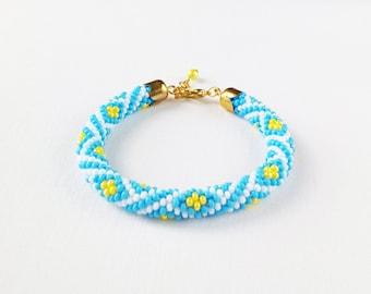 Ethnic bracelet, rope bracelet, Ukrainian bracelets, Ukrainian jewelry, Ukraine, blue and yellow, bead rope bracelet, yellow blue bracelets