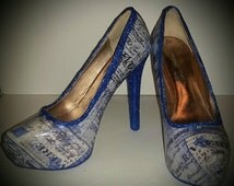 Blue heels/Heels/shoes/Holiday Shoes/Glitter shoes/Blue Glitter shoes/decoupage shoes/Blue Paris inspired fabric
