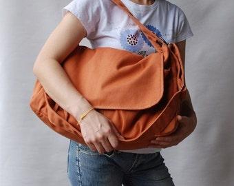 Back To School SALE 30% - Pico in Pumpkin (Water Resistant) Messenger Bag / Tote / Diaper bag / Women / Laptop / Handbag/Diaper Bag/ School