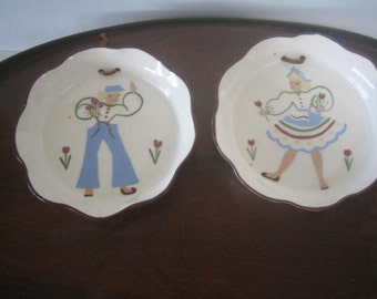 Two vintage hand painted hanging quiches dishes  6 1/4""