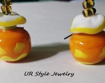 Ceramic Lampwork Pumpkin Face Topaz Seed Earrings