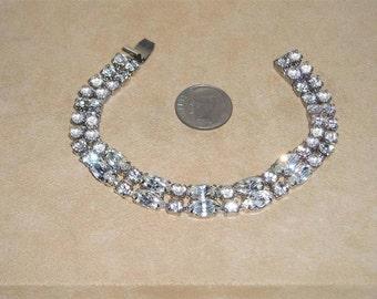 Vintage Weiss Marquis Cut Crystal Rhinestone Bracelet 1940's Jewelry A97