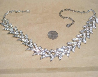 Vintage Signed Sarah Coventry Rhinestone Choker Necklace Rhodium Plated 1950's Jewelry 1010