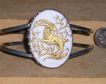 Vintage Sign Of The Zodiac Aries Ram Hinged Bracelet 1970's Jewelry 130