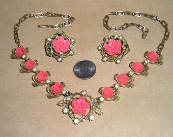 Vintage Thermal Set Flower Necklace And Earrings With Rhinestones 1950's Jewelry 8001