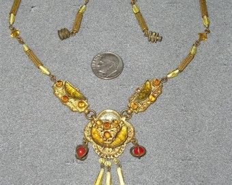 Vintage Solid Brass Festoon Necklace With Rhinestones Reversible Circa 1910 Jewelry 7074