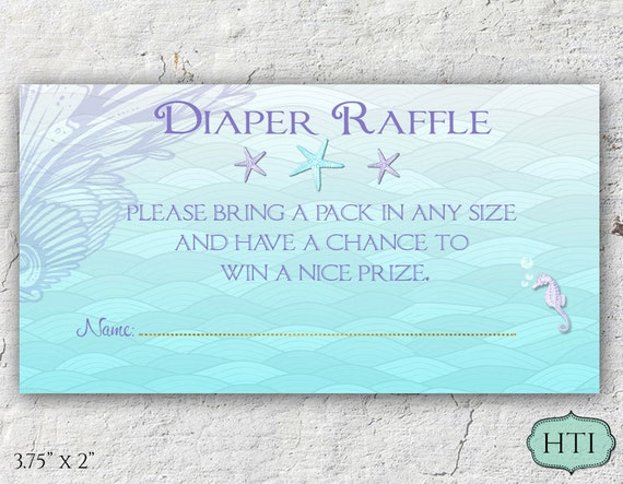 diaper raffle ticket mermaid ocean under the sea