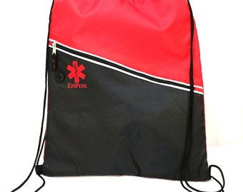 Insulated Drawstring Backpack Cinch Bag / EpiPen Case / Medical Alert
